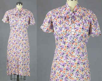 1930s Dress, 30s Floral Rayon Dress, 1930s Day Dress, Town Tailored Frocks, XS