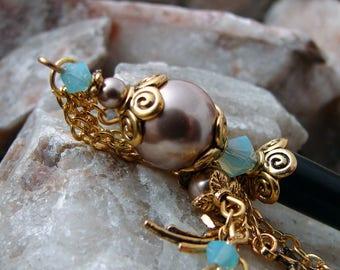 Shooting Stars Aqua and Bronze Hair Stick Swarovski Crystal and Pearl Hairstick Geisha Dangle Hair Sticks Wish on a Star Charm - Sarita
