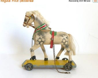 Antique 1920's - 1930's Wood Metal Plaster and Fur Children's Horse Pull Toy