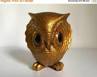 "Vintage 1960's Freeman & McFarlin of California Ceramic Gold Owl 5-5/8"" tall Statue"
