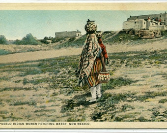 Pueblo Native American Indian Women Fetching Water New Mexico 1920s postcard
