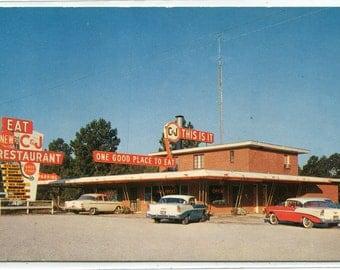 C & J Restaurant Cars Claxton Georgia Roadside America postcard