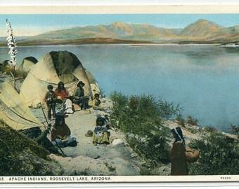 Apache Native American Indians Roosevelt Lake Arizona 1920s postcard