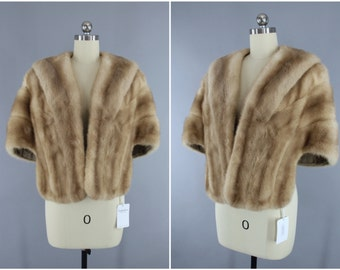 Vintage 1940s Fur Stole / 1950s Fur Shawl Wrap / Tan Light Brown / Winter Wedding / Wolf's Furs Des Moines / Mid-Century Mad Men