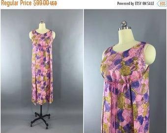 SALE - Vintage 1960s Dress / 60s Wrap Dress / Hawaiian Loungewear Maxi Dress / Pink Floral Print / Leisure Lovers