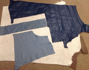 FC606.  Package of 3 Blue Leahter Cowhide Remnants