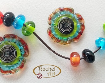 Lampwork Flowers Glass Beads, FREE SHIPPING, Set of Handmade Lampwork Glass Disc Beads and Spacers (2+8 )