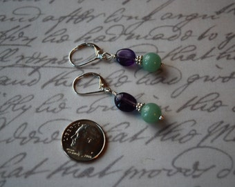 Amethyst and Green Aventurine with Sterling silver Earrings
