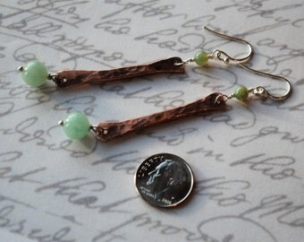 Long Rustic Boho Chic Hammered Copper with Green Aventurine and Sterling Silver Earrings