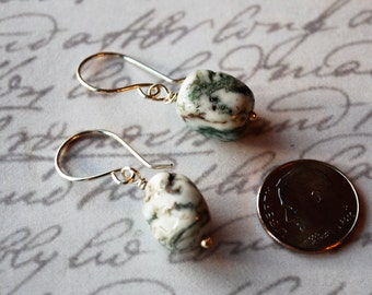 Greens and Creamy White Jasper Cubes with Handmade Sterling Silver Ear Wires Earrings