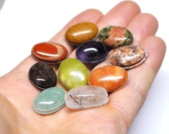 Grooved Oval Cabochons Mix Natural Gemstones Macrame Micromcramé Wire Beading Design - 10 Cabs- 17.5-20.2 mm - 143.5 ct - 170523-12