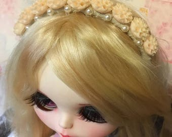 Blythe headband antique white with flowers and pearls