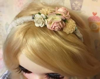 Blythe headband antique white with miniature flowers and rhinestones