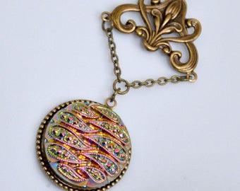 Czech Glass Button Necklace, Antique Brass Button Necklace, Rainbow Paisley Necklace, Vintage Button Jewelry, Pink Fire Glass, Filigree