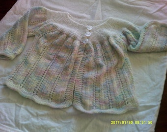Baby jacket with multi coloured yarn