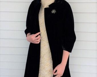 Velvet Opera Coat 50s Black Swing Open Front Vintage S M