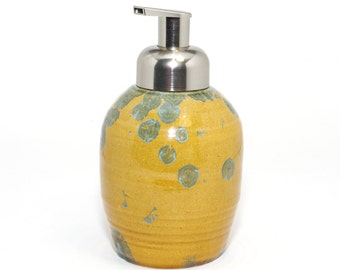 Foaming Soap Dispenser: Amber and Blue Crystalline Glaze