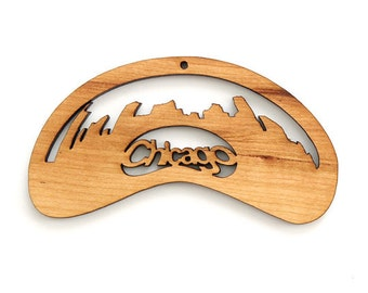 Chicago Bean Cityscape Ornament - Timber Green Woods. Sustainable Harvest Wood. Made in the USA!