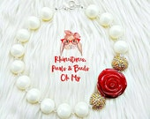 Chunky Pearl Necklace, Princess Belle Necklace, Rose Necklace, Beauty & the Beast Necklace, Belle Jewelry, Disney Jewelry