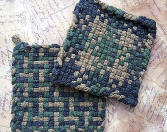 Camo Green Camping Hunting Hot Pad - David's Potholders - Cotton Potholders - - Woven Pot Holders - Cotton Trivet - Handmade - Set of 2