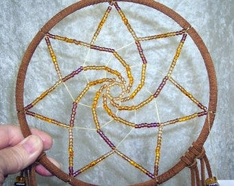 FAERIE STAR - 7 Inch Earthy Dreamcatcher in Cinnamon Brown by FeatheredDreams1