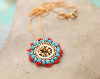 Bloom Necklace in Gold, Turquoise and Coral