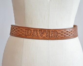 Vintage DAVID tooled leather belt