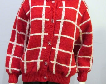 Red & White 50s 60s Vintage handmade hand knit 100% Wool shawl collar Cardigan Sweater medium large