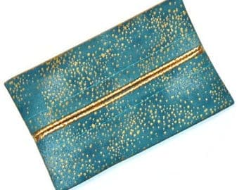 Wedding Travel Tissue Holder, Metallic Gold and Turquoise Pocket Tissue Holder, Tissue Holder, Tissue Case, Gift, Blue and Gold Tissue Case