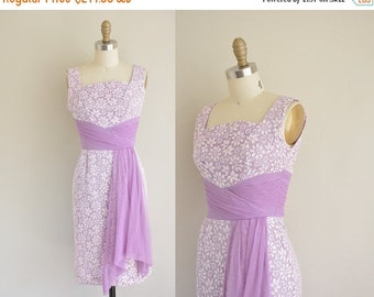 20% OFF SHOP SALE... vintage 1950s dress / lilac lace wiggle dress / 50s sash party dress