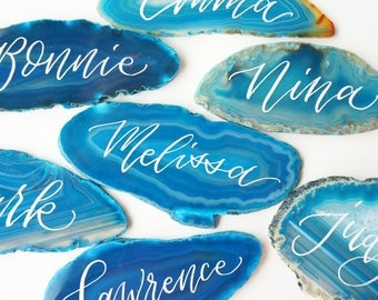 Teal Blue Agate Slice Calligraphy Place Card - escort, natural, organic wedding
