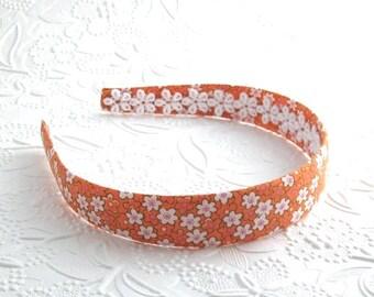 Orange Floral Preppy Girls Headband ~ Fabric Covered Plastic Headbands for Girls, Adults, Women