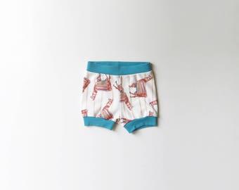 SALE | 50% OFF | Size 0-3 Months | Llamas | Llama | Organic Shorties | Shorts | Organic Baby | Festive Party Pants