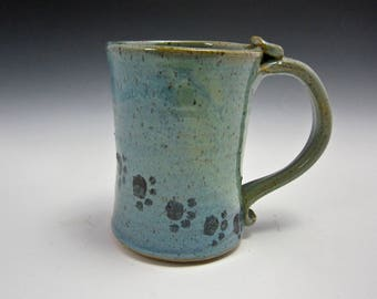 Ceramic Coffee Mug - Stoneware Coffee Mug - Pottery Mug - Blue Green - Paw Prints - Pottery Clay Cup - 16 ounce oz mug - Tea Cup - Beer Mug