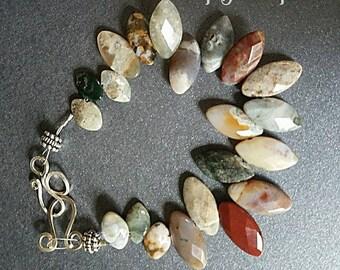 Ocean Jasper Sterling Silver Bangle, Bohemian Ocean Jasper Bangle, Hippie Ocean Jasper Bracelet, Silver Ocean Jasper Bracelet, Gift for Her