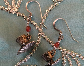 Tea Cup and saucer earrings, pair, orange red stone and metal TEA CUP and SAUCERS pair of dangly earrings, Gift
