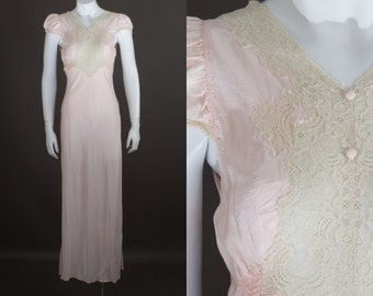 Antique 1930s lingerie peach bias cut nightgown