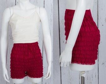 Vintage 1970s square dance ruffle pants | maroon rockabilly bloomers