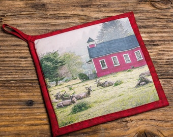 Elk at Red School House Photo Pot Holder, Hot Pad, Handmade