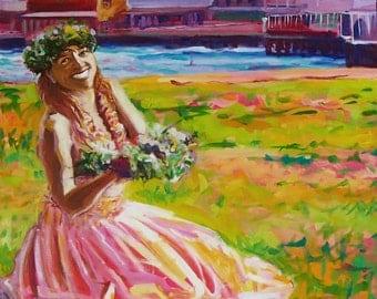Reproduction 16x16 giclee ready to hang Hula girl lei offering painting Fauve colors vibrant Hawaii Art Lahaina Maui E kipa mai E komo mai