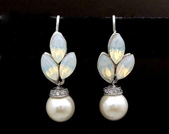 wedding jewelry bridal earrings bridesmaid gift christmas prom round white or cream pearl hook swarovski white opal marquise rhinestone