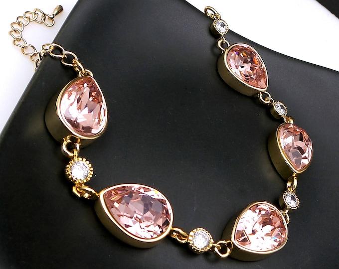 Wedding jewelry bridesmaid party gift bridal gold bracelet prom pageant swarovski vintage rose teardrop fancy rhinestone crystal bracelet