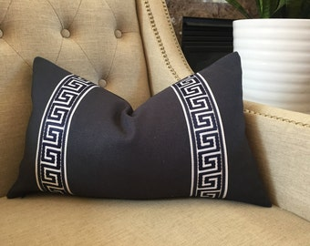 "Decorative Designer pillow cover - 12""x20""- Solid linen in navy with attached greek key trim - Made to order"