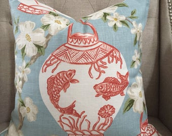 """Jaclyn Smith Asian print pillow cover - 18""""X18"""" - Pattern on the front"""