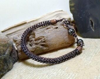 Black Hematite Antique Copper Viking Knit Bracelet size 7 - 7 3/4