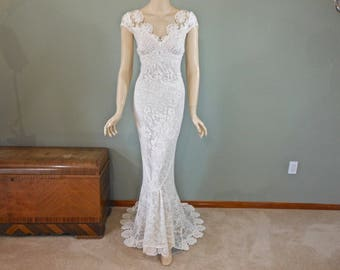 Handmade Crochet Lace wedding Dress Ivory wedding dress BOHEMIAN Wedding Dress Vintage Lace Wedding dress Cap Sleeves  Sz Large