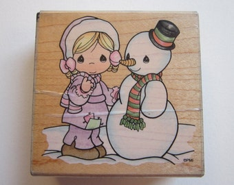 vintage rubber stamp - Precious Moments - Katy's Snowman - Stampendous UQ008 - circa 1995 - used stamp