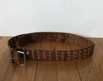 Vintage 1960s Mens or Womens Belt Brown Leather With Silver Rivets Fall Fashion Hippie Boho Bohemian Coachella Woodstock
