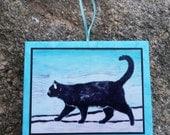 Handmade Cat Linocut Ornament - Orange or Black Cat