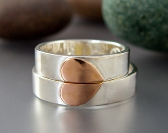 One Love Heart Wedding Band Set - 5mm Flat Sterling Silver Wedding Rings with a 14k Rose Gold Heart